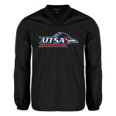 V Neck Black Raglan Windshirt-UTSA Roadrunners w/ Head Flat