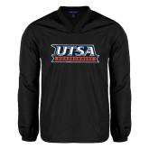 V Neck Black Raglan Windshirt-UTSA Roadrunners Stacked