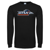 Black Long Sleeve T Shirt-UTSA Roadrunners w/ Head Flat