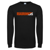 Black Long Sleeve T Shirt-Roadrunners Two Tone Diagonal