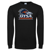 Black Long Sleeve T Shirt-Primary Logo Distressed