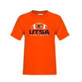 Youth Orange T Shirt-UTSA Football Stacked w/ Ball