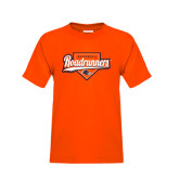 Youth Orange T Shirt-Roadrunners Baseball Script w/ Plate