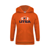 Youth Orange Fleece Hoodie-UTSA Football Stacked w/ Ball