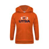 Youth Orange Fleece Hoodie-UTSA Football Stacked w/ Ball