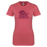 Next Level Ladies SoftStyle Junior Fitted Pink Tee-Primary Logo Pink Glitter