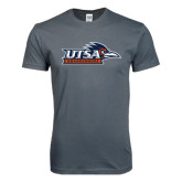 Next Level SoftStyle Charcoal T Shirt-UTSA Roadrunners w/ Head Flat