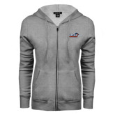ENZA Ladies Grey Fleece Full Zip Hoodie-UTSA Roadrunners w/ Head Flat