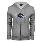 ENZA Ladies Grey Fleece Full Zip Hoodie-Roadrunner Head