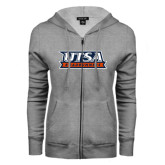 ENZA Ladies Grey Fleece Full Zip Hoodie-UTSA Roadrunners Stacked