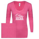 ENZA Ladies Hot Pink Long Sleeve V Neck Tee-Primary Logo