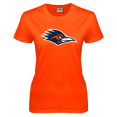 Ladies Orange T Shirt-Roadrunner Head