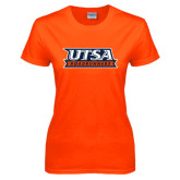 Ladies Orange T Shirt-UTSA Roadrunners Stacked