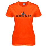 Ladies Orange T Shirt-Come and Take It Flat