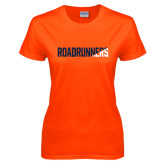 Ladies Orange T Shirt-Roadrunners Two Tone Diagonal