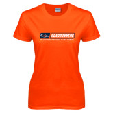 Ladies Orange T Shirt-Roadrunners Bar w/ Head