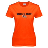 Ladies Orange T Shirt-White Out