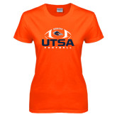 Ladies Orange T Shirt-UTSA Football Stacked w/ Ball
