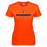 Ladies Orange T Shirt-Roadrunners Football Underline