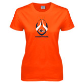 Ladies Orange T Shirt-Roadrunners Football Vertical