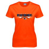 Ladies Orange T Shirt-Roadrunners Football Horizontal