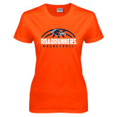 Ladies Orange T Shirt-Roadrunners Basketball Half Ball