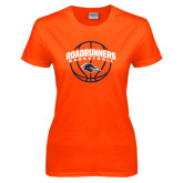 Ladies Orange T Shirt-Roadrunners Basketball Arched