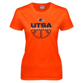 Ladies Orange T Shirt-UTSA Basketball Half Ball