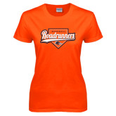 Ladies Orange T Shirt-Roadrunners Baseball Script w/ Plate