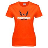 Ladies Orange T Shirt-Roadrunners Track & Field Wings