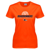 Ladies Orange T Shirt-Roadrunners Volleyball Geometric Ball