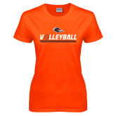 Ladies Orange T Shirt-Volleyball Bar
