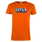 Ladies Orange T Shirt-UTSA Roadrunners Stacked
