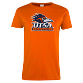 Ladies Orange T Shirt-Primary Logo Distressed