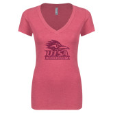 Next Level Ladies Vintage Pink Tri Blend V-Neck Tee-Primary Logo Pink Glitter
