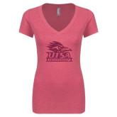 Next Level Ladies Vintage Pink Tri Blend V-Neck Tee-Primary Logo Pink Glitter