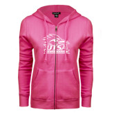 ENZA Ladies Fuchsia Fleece Full Zip Hoodie-Primary Logo