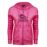 ENZA Ladies Fuchsia Fleece Full Zip Hoodie-Primary Logo Pink Glitter
