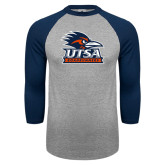 Grey/Navy Raglan Baseball T Shirt-Primary Logo