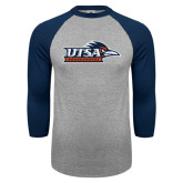 Grey/Navy Raglan Baseball T Shirt-UTSA Roadrunners w/ Head Flat