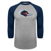 Grey/Navy Raglan Baseball T Shirt-Roadrunner Head