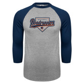 Grey/Navy Raglan Baseball T Shirt-Roadrunners Baseball Script w/ Plate