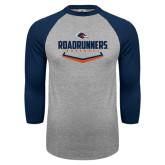 Grey/Navy Raglan Baseball T Shirt-Roadrunners Baseball Plate