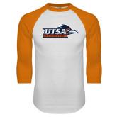 White/Orange Raglan Baseball T Shirt-UTSA Roadrunners w/ Head Flat