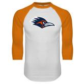 White/Orange Raglan Baseball T Shirt-Roadrunner Head