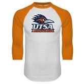 White/Orange Raglan Baseball T Shirt-Primary Logo Distressed