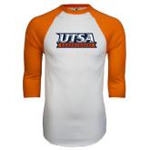 White/Orange Raglan Baseball T Shirt-UTSA Roadrunners Stacked