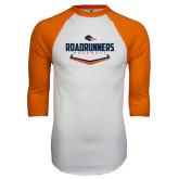 White/Orange Raglan Baseball T Shirt-Roadrunners Baseball Plate
