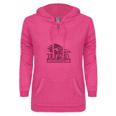 ENZA Ladies Hot Pink V Notch Raw Edge Fleece Hoodie-Primary Logo Pink Glitter