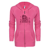 ENZA Ladies Hot Pink Light Weight Fleece Full Zip Hoodie-Primary Logo Pink Glitter